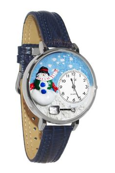Christmas Snowman Red Leather And Silvertone Watch