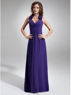 A-Line/Princess Halter Floor-Length Chiffon Bridesmaid Dress With Ruffle Flower(s) (007016740) - JJsHouse