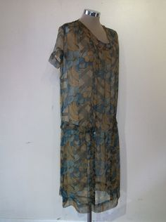 1920s drop waist silk chiffon art deco