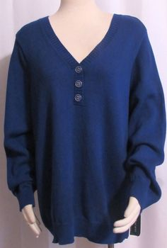 NEW Womens Ladies Plus KAREN SCOTT Royal Blue 100% Cotton Henley Sweater Top 1X  #KarenScott #Henley