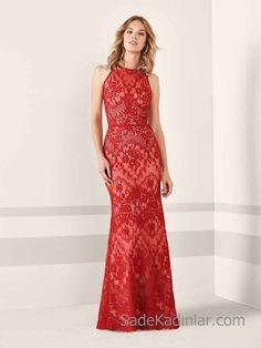 Pronovias 2019 Abiye Elbise Modelleri Kırmızı Uzun Balık Kolsuz Kayık Yaka  Dantelli. Straight DressFormal DressesEvening ... 71e95eac9b80