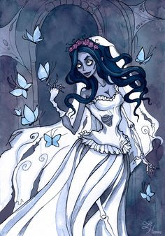Corpse Bride by IrenHorrors on DeviantArt Cartoon Network, Abigail Larson, Tim Burton Style, Corpse Bride, Gothic Art, Horror Art, Movie Characters, Dark Art, Fantasy Art