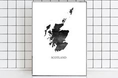 Scotland Watercolor Map Scotland Map Scotland poster Scotland