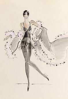 1968 - Yves Saint Laurent costume for Roland Petit Ballet - sketch