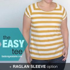 Learn how to sew an easy, flattering women's t-shirt with this simple tutorial with step-by-step photos. Free pattern in size L included!