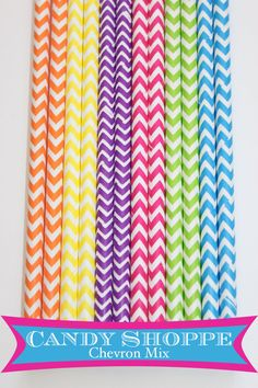 25  Chevron Candy Shoppe  paper straws wedding by PartyDelights, $4.00