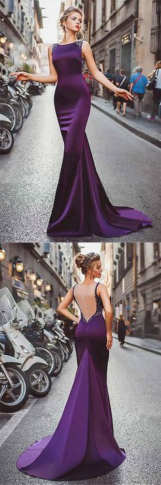 Satin Purple Mermaid Prom Dresses With Beading,Long Formal Evening Dress #purple #mermaid #evening #prom #beading #okdresses