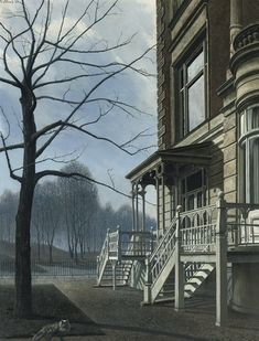 """""""Huis met twee trappen (House with Two Fights of Steps)"""", 1960 / Carel Willink (1900-1983) / Private Collection"""