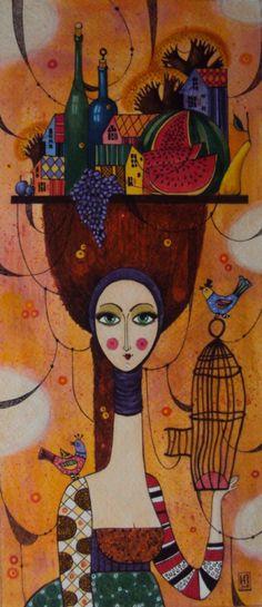 Pintura em tela tipo painel, 70cm x 50cm. Título: Mulher ...