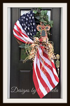 Patriotic Vine Wreath with Cross V3, BR125