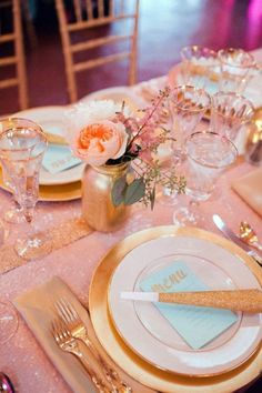 More pink under/gold details on table.. gold rimmed glasses?