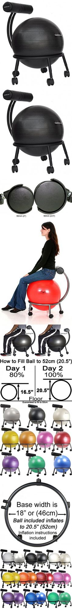 """Isokinetics Inc. Brand Fitness Ball Chair - Solid Black Metal Frame Finish - Exclusive: 60mm (2.5"""") Wheels - Adjustable Base and Back Height - with Black 55cm Ball and a Pump"""