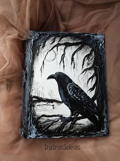 Black raven book Magic book Pagan Diary Book of Shadows Halloween Cards, Halloween Decorations, Journal Photo, Diary Book, Custom Book, Rabe, Handmade Books, Handmade Notebook, Magic Book