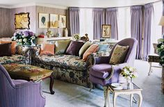 Haslam tempered the lilac scheme in this sitting room with various accent colors and patterns.