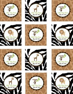 Printable Jungle Cupcake Toppers - Jungle Baby Shower - Jungle Birthday party- Digital file DIY Jungle Party, Safari Party, Jungle Cupcakes, Birthday Tags, Birthday Ideas, Safari Theme Birthday, Baby Boy Themes, Festa Party, Shower Time
