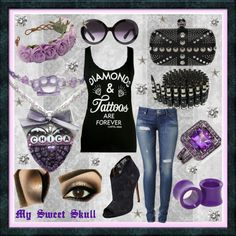 """""""Diamonds and Tattoos are Forever"""" by razz-ace on Polyvore - Chica skull necklace has tulle bow and purple knuckle dusters connecting a hand beaded chain. Purple and black with dark metals and heavy eye liner makeup. My Sweet Skull resin necklace"""