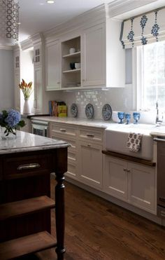 Transitional Galley Style Light Blue kitchen, white cabinets, $100,000 and over, Rebecca Reynolds,