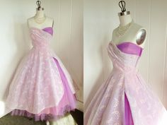1950s Vintage Purple Tulle and Chiffon Prom Dress. $425.00, via Etsy. ductape