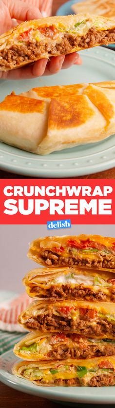 Supreme This is how to make a Taco Bell Crunchwrap Supreme at home. Get the recipe in .This is how to make a Taco Bell Crunchwrap Supreme at home. Get the recipe in . Meat Recipes, Mexican Food Recipes, Dinner Recipes, Cooking Recipes, Recipies, Taco Bell Recipes, Mexican Dishes, I Love Food, Good Food