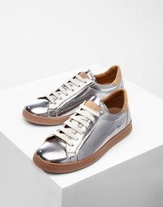 Mirror Effect Leather sneakers with nubuck calfskin details