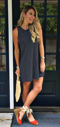 #summer #outfits Black Striped Dress + Red Pumps // Shop This Outfit In The Link
