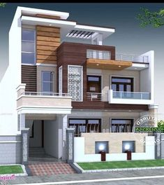 Modern exterior design ideas will enhance the aesthetic values of your house Bungalow Haus Design, Duplex House Design, House Front Design, Modern House Design, Independent House, Modern Exterior, Exterior Design, Modern Home Exteriors, Style At Home
