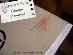 Lemon essential oil to remove crayon from furniture. Tried it and it worked like magic!!