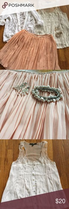 Pretty Girl Outfit Bundle Included in this gorgeous bundle: pink pearl chandelier earrings and stretchy pink pearl bracelet. Rose Pink pleated skirt with zipper back closure. One white button down from a high end Newport Beach boutique. White lace and embroidered delicate white tank from Anthropologie. All are in good condition to excellent. Enjoy the deal and adorable bundle of fashion treasure. All small to medium. Size 4. Anthropologie Skirts Mini
