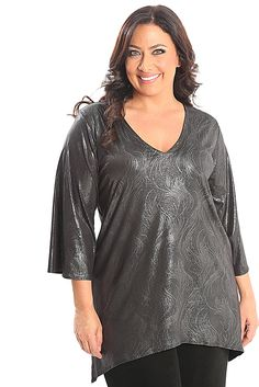 Vikki Vi Jersey Glamour Shark Bite Tunic A great plus size piece for your holiday party.