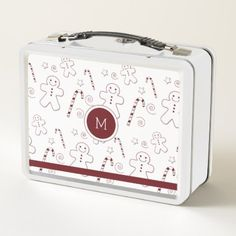 Maroon Christmas Pattern Monogram | Metal Lunchbox - metal style gift ideas unique diy personalize