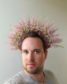 Sculptural Headdresses by Joshua Werber Transform Blossoms into Wearable Art Floral Headdress, Head Planters, Colossal Art, Astilbe, Bridal Crown, Floral Crown, Wearable Art, Headpiece, Landscape Design