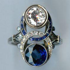 Art Deco Diamond and Sapphire platinum ring from: www.argolehne.com