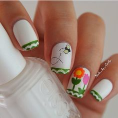 An easy springtime mani. Nails by @nails_by_cindy using Nailed Kit decals as an accent.
