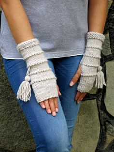 Knit Fingerless gloves in oatmeal color Gloves Mittens Long knit gloves Boho knit gloves mittens Girls wool fingerless gloves gypsy Fingerless Gloves Knitted, Crochet Gloves, Knit Mittens, Knit Crochet, Wrist Warmers, Hand Warmers, Knitting Patterns Free, Hand Knitting, Knitting Yarn