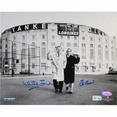 Yogi BerraWhitey Ford Dual Signed BW Standing Outside Original Yankee Stadium 8x10 Photo (MLB Auth)