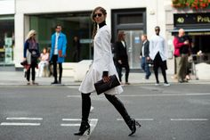 ~ London Fashion Week Style ~ Stephanie Stola in Dior patent leather boots at Felder Felder. Marcy Swingle for The New York Times