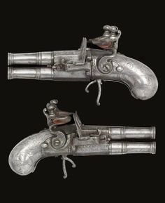 A PAIR OF .25 LIÈGE ALL-METAL OVER-AND-UNDER FLINTLOCK BOX-LOCK POCKET PISTOLS -  By Claude Niquet, circa 1750