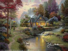 Stillwater Cottage by Thomas Kinkade...this will be my first Art investment of hopefully many. Love him!!