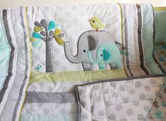 7 Unids elefante lindo Del Bebé Juego de Cama cuna cuna ropa de cama cuna set cunas cuna Edredón Bumper Hoja Falda de La Cama incluido