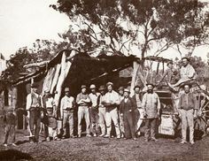 Miners display a pan of nuggets from a new strike (see flag left) with Clerk of Petty Sessions, L. Donaldson (straw hat) to check the claim while butcher Leggatt sits on his cart, Gulgong area Australia Day, Western Australia, Van Diemen's Land, Gold Miners, Devon Uk, Australian Bush, The Old Days, Ghost Towns, Continents