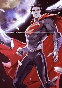Man of Steel Anime style Superman Anime, First Superman, Superman News, Supergirl Superman, Dc Anime, Anime Comics, Superman Stuff, Superman Cosplay, Superman Art
