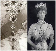 Delhi Durbar Stomacher worn by Queen Mary (aka Marky of Teck). She is also wearing the majority of the Delhi Diamond Parure as well