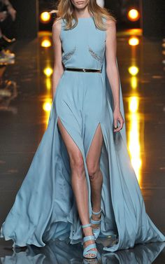Blue Double Silk Georgette And Lace Gown by Elie Saab for Preorder on Moda Operandi