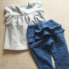 保育園用にペプラムタックパンツ♡ 簡単だから色違いでたくさん作ろう。 #enanna #ペプラムタックパンツ #checkandstripe #チェックアンドストライプ #citronille #シトロニール #ハンドメイドこども服