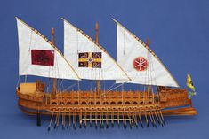 """The dromon or """"runner"""" was the standard oared warship of this period. With 54 oars on each side, it could manage about 4 knots under ideal conditions. Naval History, Military History, Byzantine Army, Old Sailing Ships, Ship Art, Medieval Fantasy, Tall Ships, Model Ships, Water Crafts"""