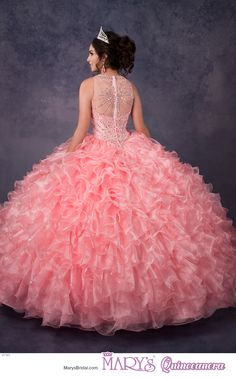 Alta Couture style 4T185 • Organza quinceanera ball gown with beaded jewel neck line, beaded bodice, basque waist line, illusion back with zipper closure, ruffle skirt, and detachable train.