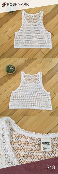 Victoria's Secret Pink White Crochet Top Lovely see through top from Victoria's Secret Pink. An oversized small which could also fit a medium. Perfect over a swim top or over a cute bralette or sports bra. Worn once and in perfect condition. No stains or tears. PINK Victoria's Secret Tops Tank Tops