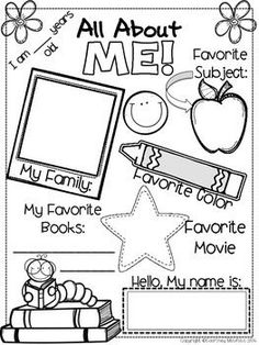 Use this All About Me sheet as a beginning of year activity. Students can work on this as they are walking into the classroom on the first day of school, while you are busy talking to parents and getting others settled. This sheet can also be used as a gu Preschool Classroom, Classroom Activities, In Kindergarten, Joy School Preschool, All About Me Preschool Theme, Preschool Curriculum Free, Kindergarten Graduation, First Day Of School Activities, 1st Day Of School