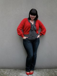 I love this look! I actually was looking fora red shrug sweater and red heels yesterday to wear with a blue jean dress i just bought! This inspires me to KEEP LOOKING!  :) The lovely Lilli has the best fashion blog ever for curvy gals.