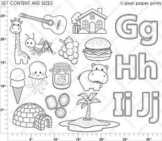 Alphabet Digital Stamps Part 3 GHIJ clip art School